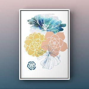 Succulents floral leaf watercolor modern art print